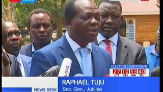 Delegation representing Jubilee party in the meeting with IEBC gives details