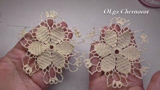 Crochet flower tutorial for  doily  EASY. Мотив с цветком для салфетки