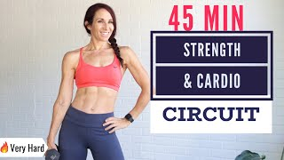 🔥FAT BURNING 45 MIN FULL BODY Workout | Strength & HIIT Cardio Circuit | At-home Workout W/ Weights