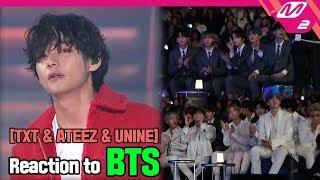 [Reaction Cam] TXT(투모로우바이투게더) & ATEEZ(에이티즈) & UNINE(유나인) Reaction To BTS(방탄소년단) L 2019MAMA X M2