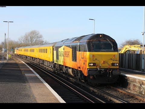 Colas Rail 67023 & 67027 pass Ford with Network Rail Test Tr…