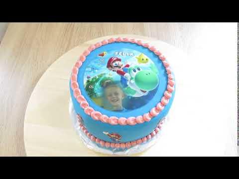 Super Mario Geburtstags-Torte. Essbares Tortenbild
