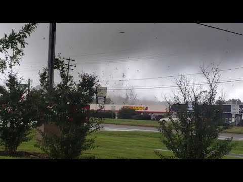 Tornado in the Florence stormfront destroying a building in Richmond, VA