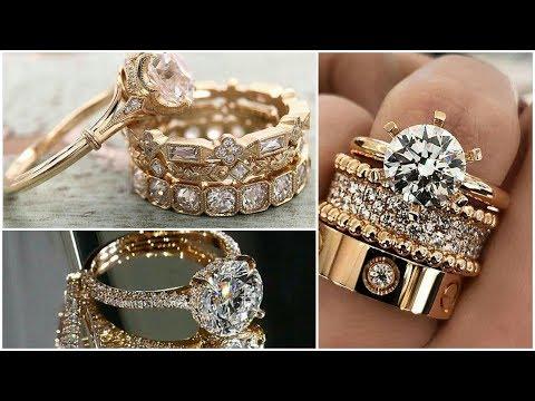 Elegant & Beautiful Gold Diamond stones rings, wedding rings, engajement rings