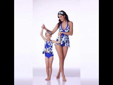 2019 летний купальный костюм для мамы и дочки, родителей детей с принтом в виде листьев лотоса,