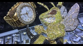 Custom Large Angry Bee Diamond Pendant Video Review