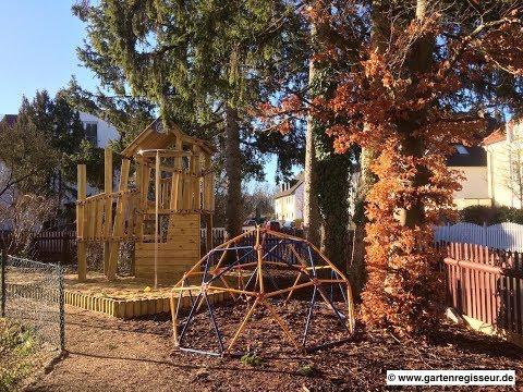 Gartenprojekt: Spielplatz mit Sandkasten und Klettergerüst