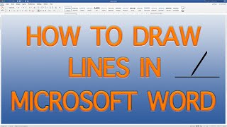 How to draw a line in Word. Multiple types of lines in Word. (QUICK AND EASY) - 2019