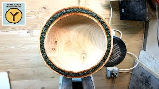 53 Woodturning Mineral Inlaid Cypress Bowl