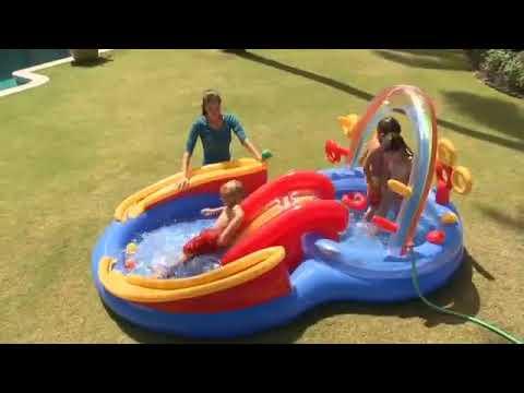 Piscina infantil infl vel playground arco ris 227 litros for Piscina inflavel arco iris intex playground com escorregador