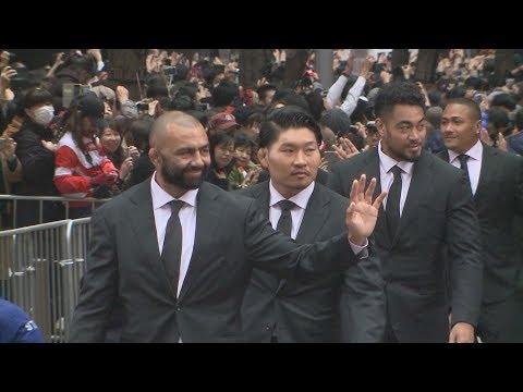 ラグビー日本代表がパレード ONE TEAMに大歓声