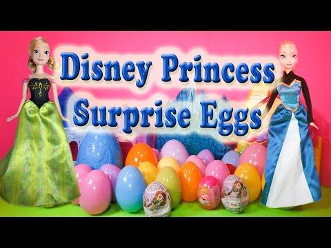 SURPRISE EGGS Disney Princess Elsa Anna Sofia Toys Surprise Eggs Video