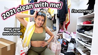 NEW 2021 ROOM CLEAN WITH ME: cleaning, organizing, i'm moving & planning for the new year