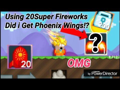USING 20 Super FireWorks! ( DID I GET PHOENIX WINGS!? ) OMG - Growtopia