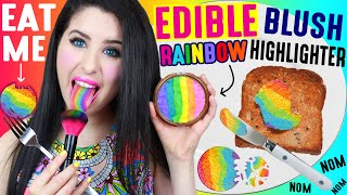 DIY EDIBLE Rainbow Highlighter Blush | EAT Makeup | How To Make EATABLE Rainbow Cheek And Eyeshadow! by GlitterForever17