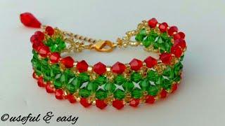 Beaded Bracelet Making//crystal Jewelry Making// Useful & Easy