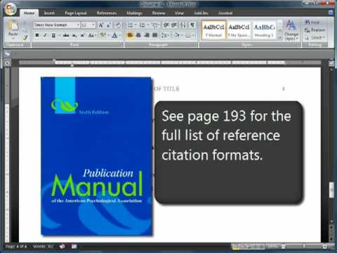 Formatting papers and essays with APA 6th Edition.  A Word template pre-set can be downloaded from http://www.peakwriting.com/APA.docx