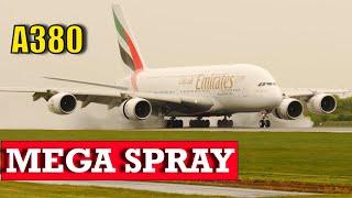Airbus A380 Landing Mega Water Spray  4K Video
