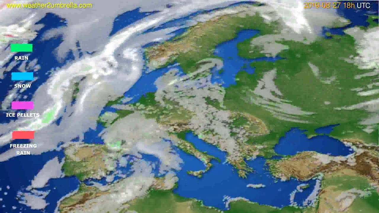 Precipitation forecast Europe // modelrun: 00h UTC 2019-08-25