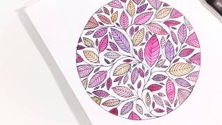 STEP BY STEP - DRAWING A WATERCOLOR ILLUSTRATION - LEAF ART - PAINTING LEAVES - ART VIDEO SPEEDPAINT