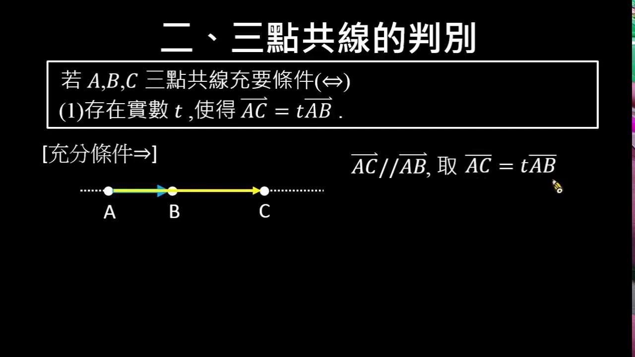 【觀念】三點共線的判別 (1/2) :共點平行   平面向量的線性組合   均一教育平臺