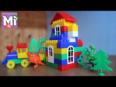 Развивающий конструктор Строитель для детей типа Лего. Строим домик, играем паровозиком в боулниг