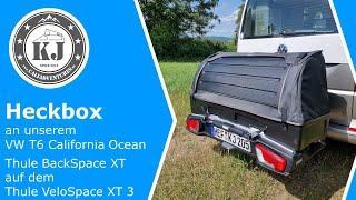 Heckbox an unserem VW T6 California Ocean - Thule BackSpace XT auf dem Thule VeloSpace XT 3