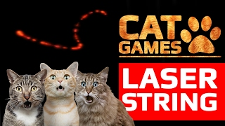 CAT GAMES - 😺 AMAZING LASER STRING (ENTERTAINMENT VIDEOS FOR CATS TO WATCH) 60FPS