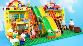 Peppa Pig House Construction Sets - Lego Duplo House With Water Slide Creations Toys For Kids #7