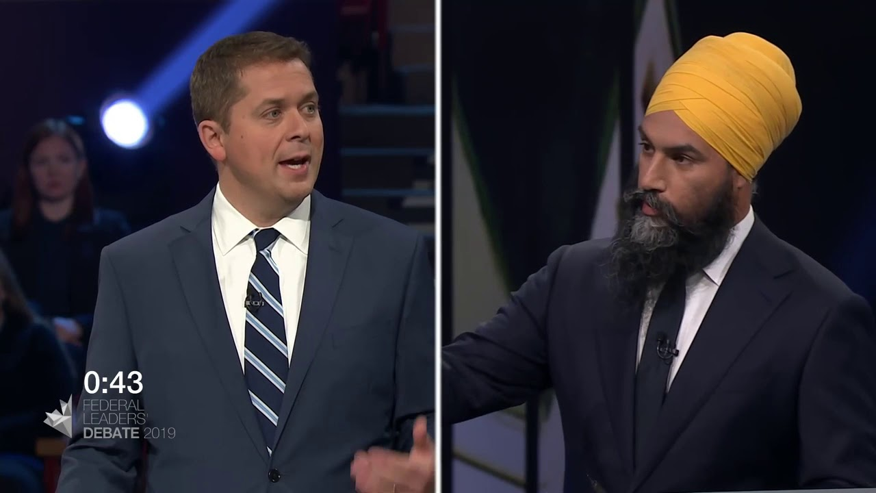 Jagmeet Singh debates Quebec's secularism law with Andrew Scheer