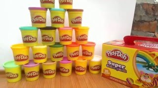 Video for kids| review playdoh super color pack 20 unique color - Play doh toy review