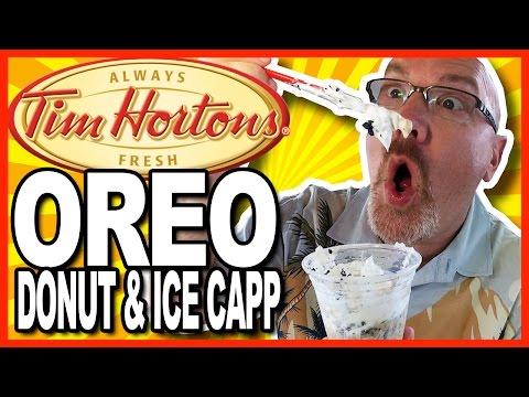 Tim Horton's Oreo Donut and Oreo Ice Capp Review WARNING: BRAIN FREEZE!