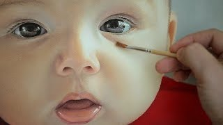 Photorealistic Portrait Painting  - oil painting of baby face by Janusz Migasiuk