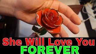 💖💖💖Gold Dipped Rose 24k Red Gold Plated Rose - Everlasting Long Stem Real Rose, Romantic Gift💖💖💖