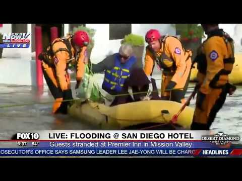 FNN: People TRAPPED Inside Flooded Hotel in San Diego