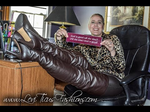 CLASSIC BROWN LEATHER THIGH BOOTS AND LEATHER PANTS