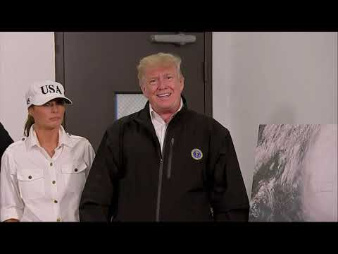 President Donald Trump and the first lady landed in Georgia Monday to learn about damage from Hurricane Michael.  During his stop, he talked about climate change and Sen. Elizabeth Warren's DNA analysis. (Oct. 15)
