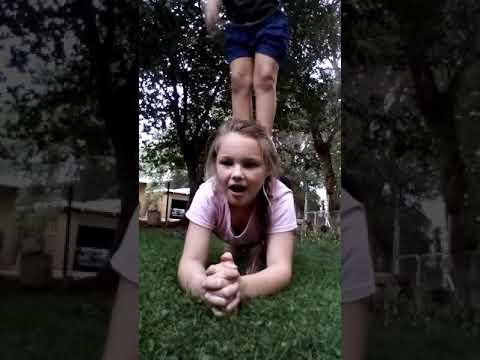 Gymnastics challenge with my friend