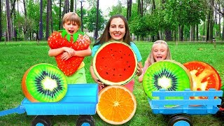 Sasha and Fillip Collect Fruits and Alphabet letters