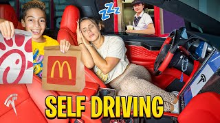 Letting our Tesla DECIDE what we EAT for 24 Hours! (SELF DRIVE) | The Royalty Family