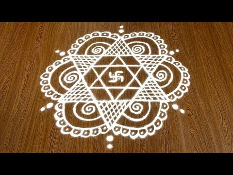 Simple Swastika Rangoli Design with 9x5 Dots for Beginners | Easy Daily chikki Kolam