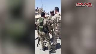 الأهالي وعناصر من الجيش يعترضون رتلاً للاحتلال الأمريكي بريف الحسكة ويجبرونه على التراجع