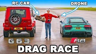 Audi R8 v RC Car v Drone v AMG G63 - DRAG RACE, ROLLING RACE & BRAKE TEST