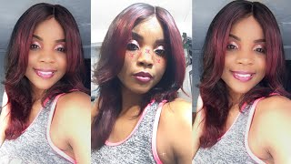 U-nice Amazon wig review + how to dye dark hair red without bleach Loreal HiColor HiLights Red