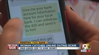 Woman catches online dating scam Video
