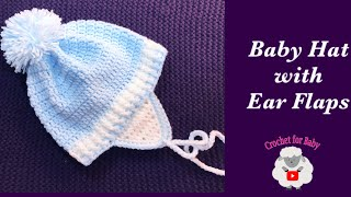 Easy Crochet baby hat with ear flaps  0-12M  How to crochet baby hats Crochet for Baby #191