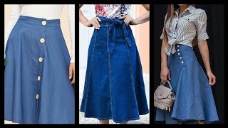 Stylish And Latest Denim Skirts Ideas For College Girls.