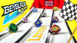 Launching Beyblades Down our Race Track! Beyblade Burst Racing Battles with Hasbro Beyblades