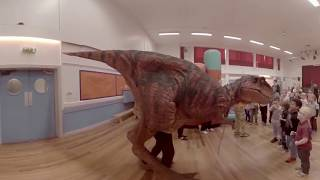 Mason & Charlie Dinosaur Surprise Party T rex Tyrannosaurus Entrance VR Virtual Reality 360 Video