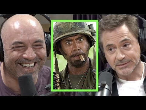 Robert Downey Jr. talking with Joe Rogen about Tropic Thunder and if it could be made today